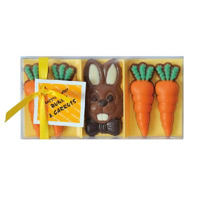 Chocolate Easter Bunny and Carrots - Easter Gifts