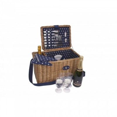 4 Person Picnic Basket with Shoulder Strap