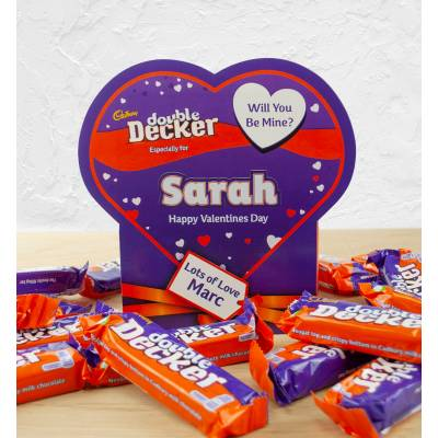 Personalised Valentines Box Of Cadbury Double Decker