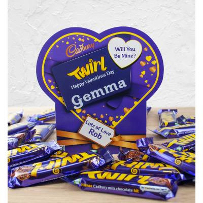 Personalised Valentines Box Of Cadbury Twirl
