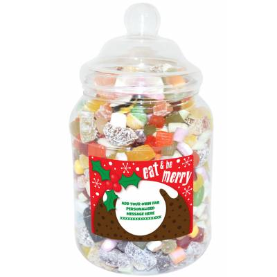 Personalised Be Merry Large Sweet Jar