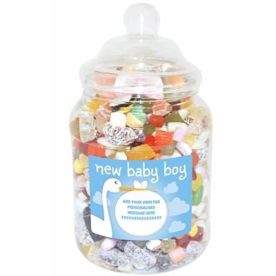 Personalised Baby Boy Large Sweet Jar