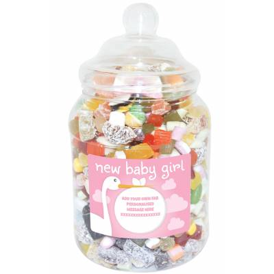 Personalised Baby Girl Large Sweet Jar