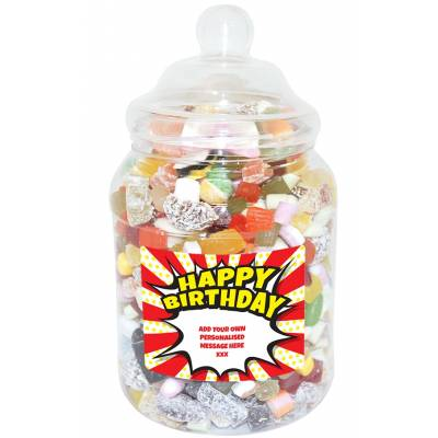 Personalised Birthday Burst Large Sweet Jar