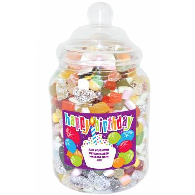 Personalised Birthday Cake Large Sweet Jar
