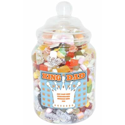 Personalised King Dad Large Sweet Jar
