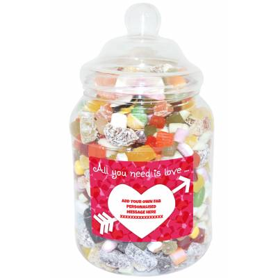 Personalised Love is all you need Large Sweet Jar
