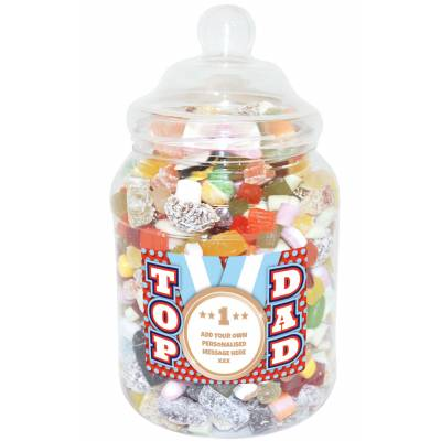 Personalised Top Dad Large Sweet Jar