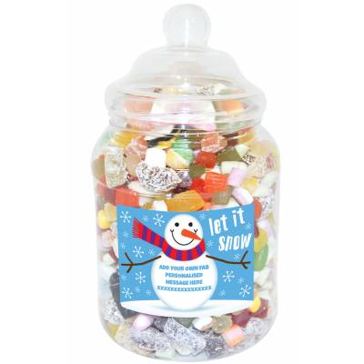 Personalised Snowman Large Sweet Jar