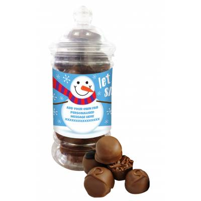 Personalised Snowman Belgian Chocolate Jar