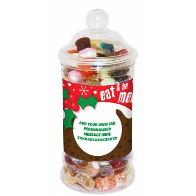 Personalised Be Merry Sweet Jar