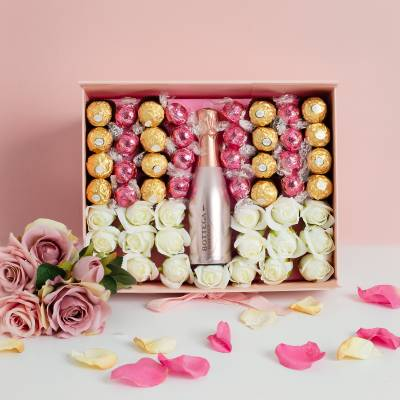 Luxury Pink Prosecco Hamper with White Roses and Chocolates