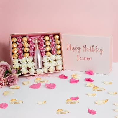 Personalised Happy Birthday Luxury Pink Prosecco Hamper
