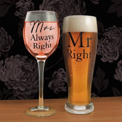 Mr Right Mrs Always Right Glasses Set