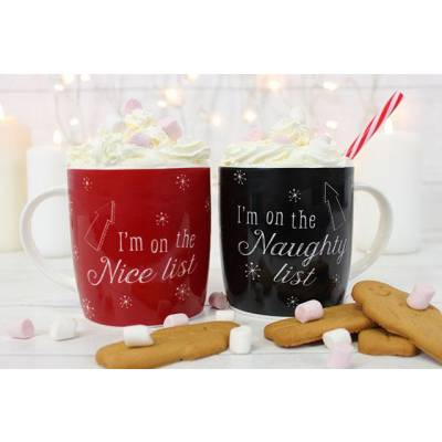 Nice List Naughty List Mug Set