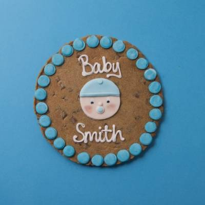 Personalised Giant New Baby Boy Cookie