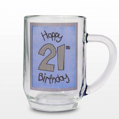 Blue 21st Happy Birthday Tankard - 21st Gifts