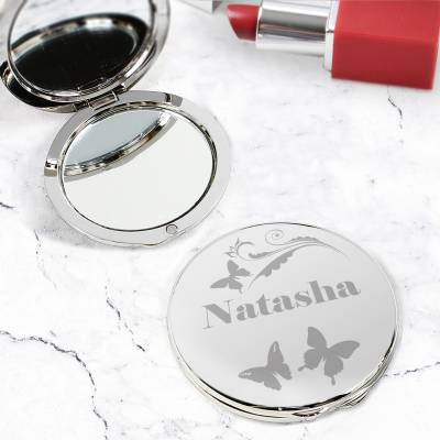 Personalised Butterfly Compact Mirror - Butterfly Gifts