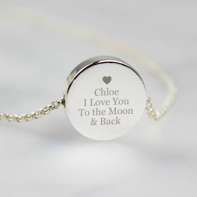 FunkyHampers Personalised Silver Plated Any Message Disc Necklace