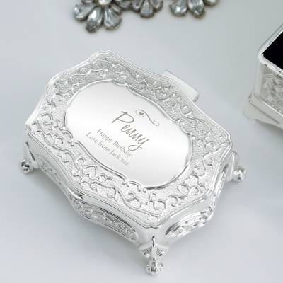 Personalised Swirls & Hearts Small Antique Trinket Box - Anniversary Gifts