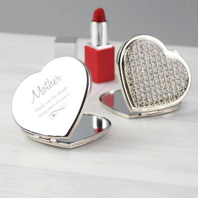 Personalised Swirls & Hearts Diamante Heart Compact Mirror - Anniversary Gifts