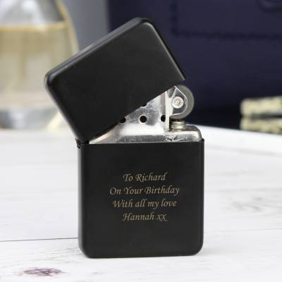 Personalised Black Lighter - Lighter Gifts