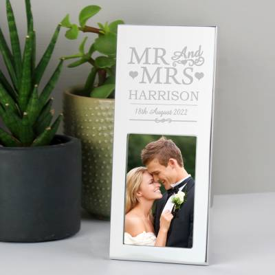 Personalised Silver Mr & Mrs 2x3 Frame