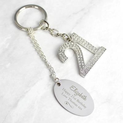 Personalised Swirls & Hearts Diamante 21 Keyring