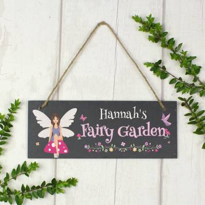"Personalised """"Fairy Garden"""" Printed Hanging Slate Plaque"