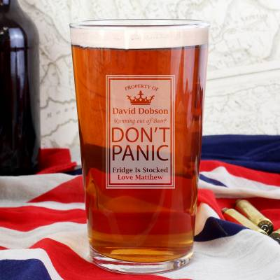Personalised Dont Panic Pint Glass