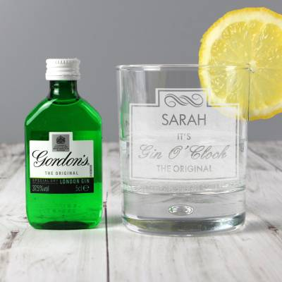 Personalised Gin O'Clock Glass & Mini Gin Set