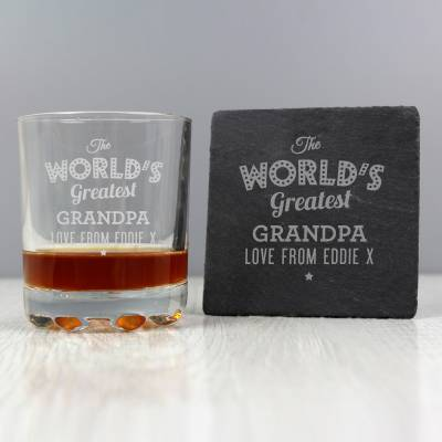 "Personalised """"The Worlds Greatest"""" Whisky Tumbler & Slate Coaster Set"