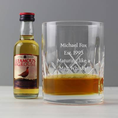 Personalised Crystal & Whisky Gift Set