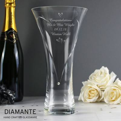 Personalised Swarovski Hearts Diamante Vase