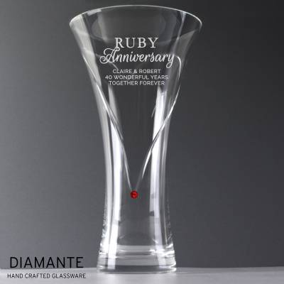 Personalised Ruby Anniversary Large Hand Cut Diamante Heart Vase with Swarovski Elements