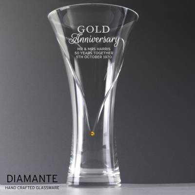 Personalised Gold Anniversary Large Hand Cut Diamante Heart Vase with Swarovski Elements