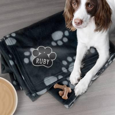 Personalised Dog Paw Fleece Blanket