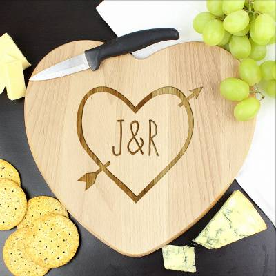 Personalised Wood Carving Heart Chopping Board - Wood Gifts
