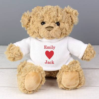 Personalised Love Heart Jumper Bear