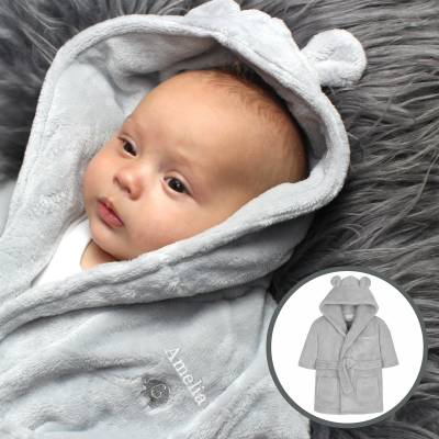 Personalised 0-6 Months Grey Bear Ears Hooded Baby Dressing Gown - Dressing Gown Gifts