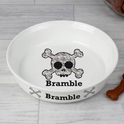 Personalised Bling Skull Pet Bowl - Skull Gifts