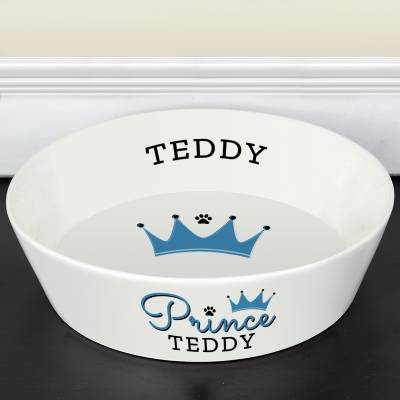 Personalised 'Prince' 20cm Large Ceramic White Pet Bowl