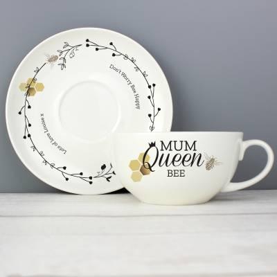 Personalised Queen Bee Teacup & Saucer