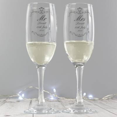 Personalised Couples Flutes