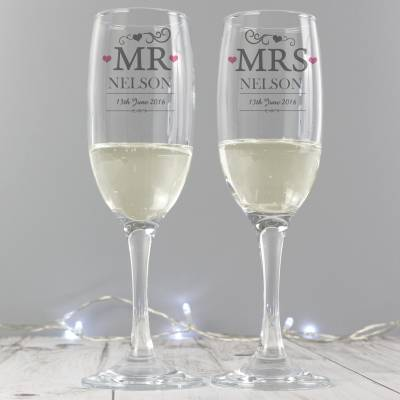Personalised Mr & Mrs Pair of Flutes