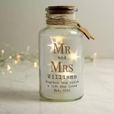 Personalised Mr & Mrs LED Glass Jar