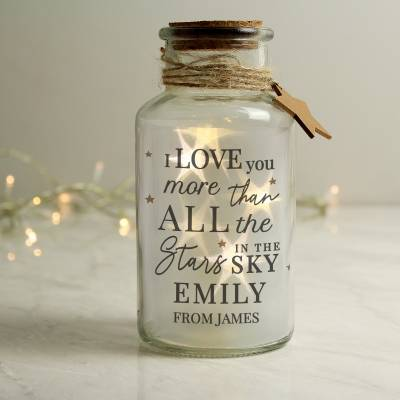 Personalised I Love You More... LED Glass Jar