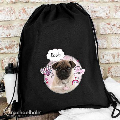 Personalised Rachael Hale Doodle Pug Black Swim & Kit Bag