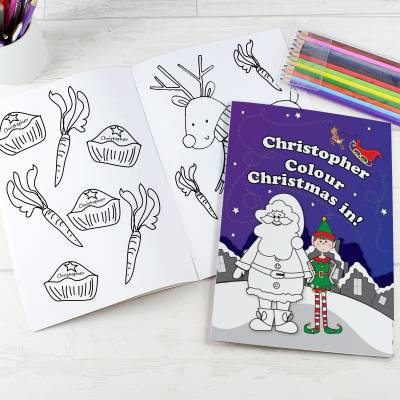 Personalised Elf Colouring Set