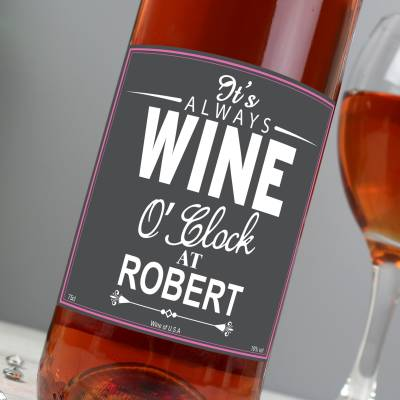 Personalised Wine OClock Rose Wine